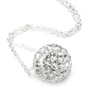 Authentic Diamond Color Crystals Ball Pendant + Sterling Silver Chain Only $9.99 Free Shipping
