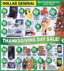 Dollar General: Hot Deals & Will Be Open Thanksgiving Day