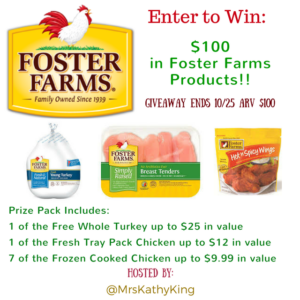 Enter for a chance to win $100 in Foster Farms Products #giveaways