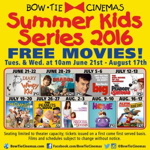 Free Summer Kid's movies at Bowtie Cinemas
