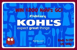 Enter to #win A $200 Kohl's GC (ends 9/17) #giveaways
