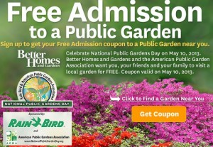FREE Ticket to Celebrate National Public Gardens Day (May 10th)