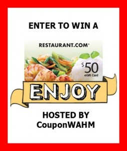Enter for a chance to win $50 in Restaurant.com eGift Cards