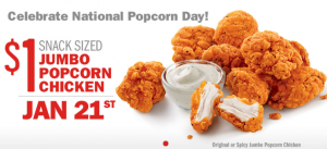 1/21 Only: Jumbo Popcorn Chicken $1.00 At Sonic Restaurants