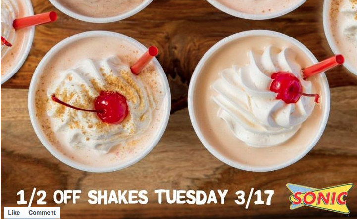 Sonic is offering 50% off shakes 3/17/15