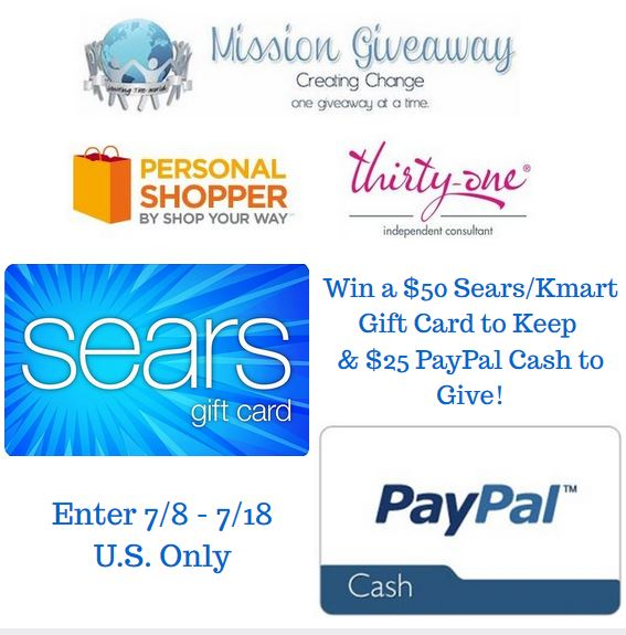 Enter to #win A $50 Sears/Kmart Gift Card to keep and $25 PayPal Cash to give away (ends 7/18) #giveaways