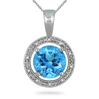 7.75 Carat Blue Topaz & Diamond Sterling Silver Pendant $34 shipped