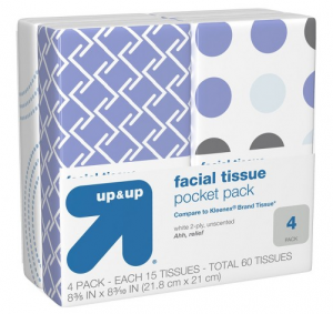 4-pack of Up & Up Pocket Packs of facial tissues for just $0.46 !!