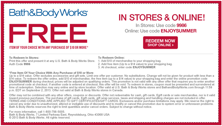 Hot Free Item With 10 00 Purchase At Bath And Body