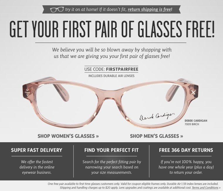 That's right, FREE prescription glasses! What's the catch, you ask? That's what I thought too, but I tried it and there is no catch. They just want you to try ordering glasses in a whole new way. Just us coupon code FPF10 at checkout and you only pay shipping and handling PLUS get a 10%.