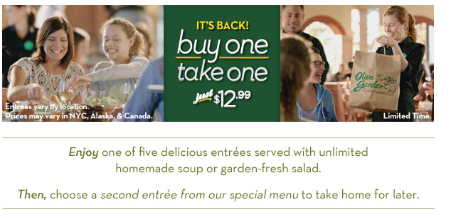 Buy A Entree Take A Entree Home At Olive Garden